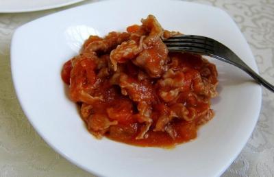 鲜美的番茄烧羊肉片