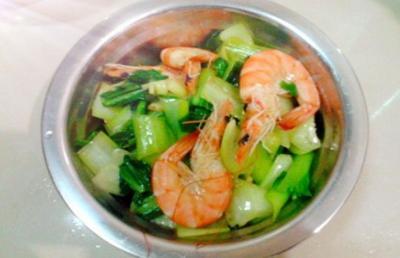 油菜炒大虾仁