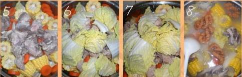 玉米白菜煮猪骨汤的做法步骤2