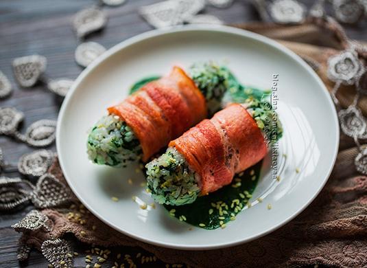 香煎菠菜饭团
