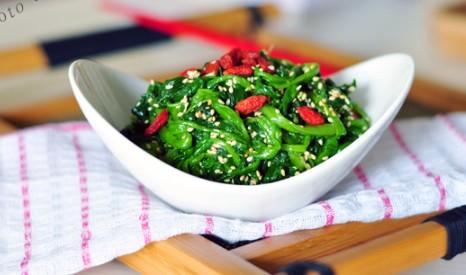 芝麻菠菜的有图做法